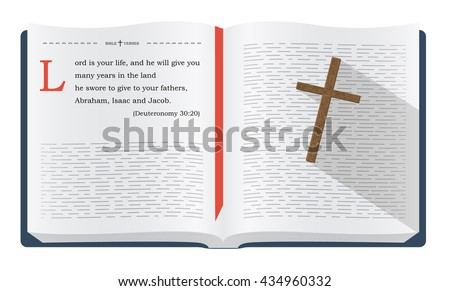Best Bible verses to remember - Deuteronomy 30:20. Holy scripture inspirational sayings for Bible studies and Christian websites, illustration isolated over white background - stock photo