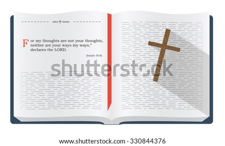Best Bible verses to remember - Isaiah 55:8. Holy scripture inspirational sayings for Bible studies and Christian websites, illustration isolated over white background - stock photo