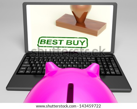 Best Buy On Laptop Showing Excellent Sale Or Premium Product - stock photo