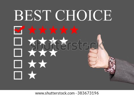 Best Choice - Five Stars Rating with thumb up. Grey Background