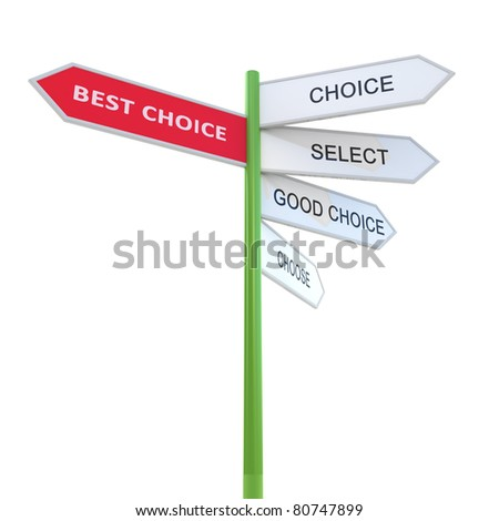 Best choice Waymark prompt. 3d concept illustration isolated on white