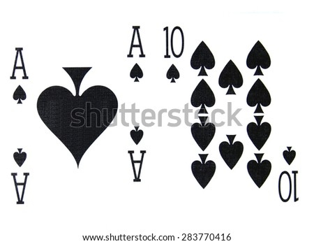 best classic winning blackjack combination ten and ace of spades - stock photo