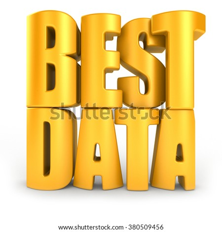 Best data 3d text isolated over white background