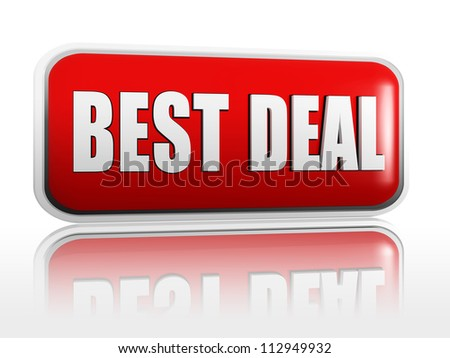 best deal 3d red banner with white text - stock photo