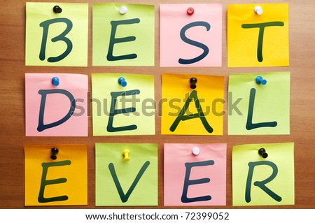 Best deal ever made by post it - stock photo