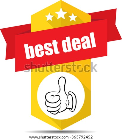 Best deal yellow label and sign. - stock photo