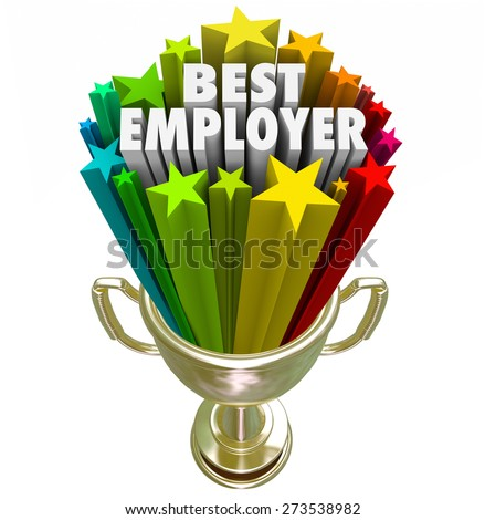 Best Employer words in a gold trophy with colorful starts to illustrate the top rated workplace for your new job or career - stock photo