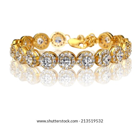 Best gold bracelet with diamonds - stock photo