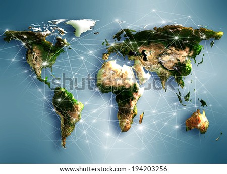 Best Internet Concept of global business from concepts series. Map earth. (Elements of this image furnished by NASA) - stock photo