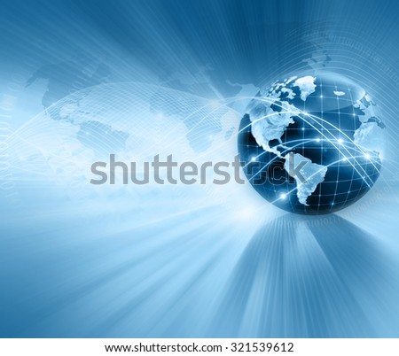 Best Internet Concept of global business. Globe, glowing lines on technological background. Electronics, Wi-Fi, rays, symbols Internet, television, mobile and satellite communications. - stock photo