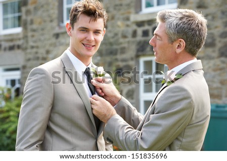 Best Man And Groom At Wedding - stock photo