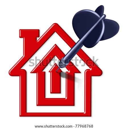 Best mortgage rates symbol represented by a house and home shaped like a bulls eye with a black dart in the center representing good real estae prices - stock photo