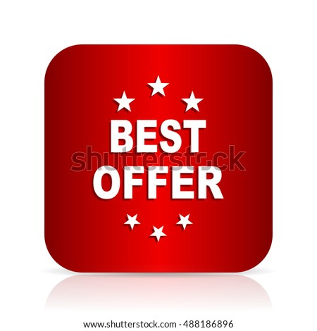 best offer red square modern design icon