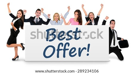 Best offer word writing on banner