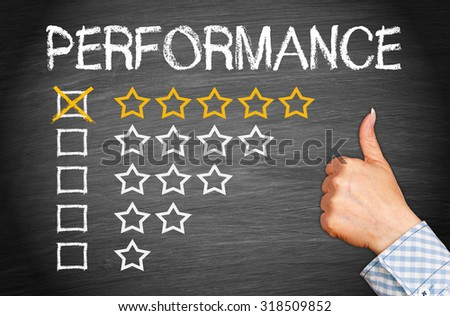 Best Performance - five golden stars with thumb up - stock photo
