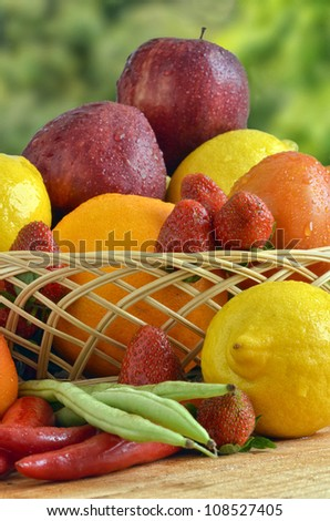 Best picture of fresh Fruit and Vegetables shot in still life concept. Picture taken under a warm morning light. There is a free space to put your product on right bottom front.