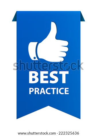Best practice blue tag ribbon banner icon isolated on white background. illustration - stock photo