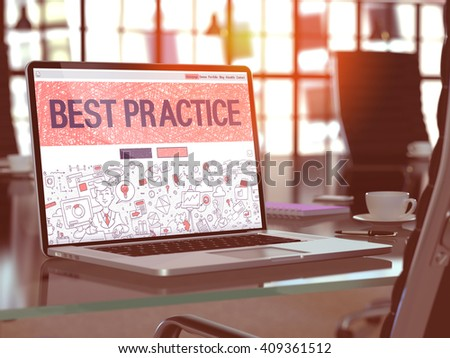 Best Practice Concept. Closeup Landing Page on Laptop Screen in Doodle Design Style. On Background of Comfortable Working Place in Modern Office. Blurred, Toned Image. 3D Render. - stock photo