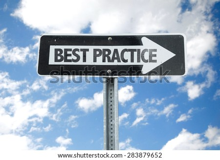 Best Practice direction sign with sky background - stock photo