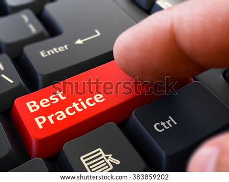 Best Practice Red Button - Finger Pushing Button of Black Computer Keyboard. Blurred Background. Closeup View. 3D Render. - stock photo