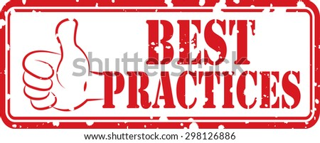 Best practice rubber stamp with thump icon isolated on white background. - stock photo