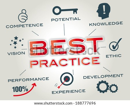 Best practices are used to maintain quality as an alternative to mandatory legislated standards and can be based on self-assessment or benchmarking - stock photo
