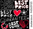 best price crazy doodles isolated on black background - stock photo