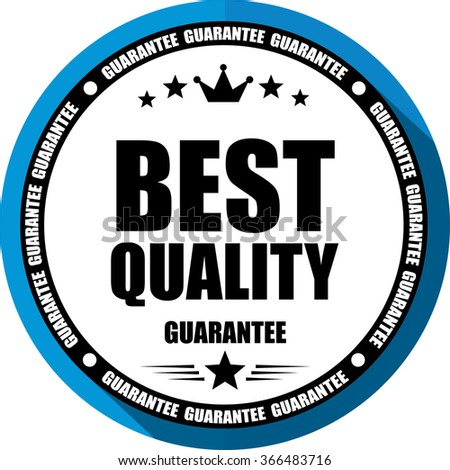 Best quality guarantee blue, Button, label and sign. - stock photo