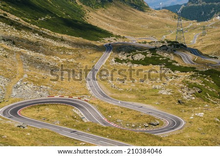 Best road in the world - Transfagarasan, Romania (Top Gear) - stock photo