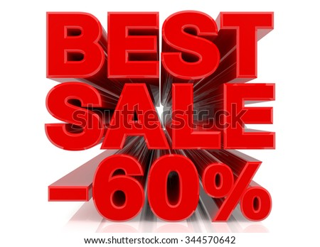 BEST SALE -60% word collection on white background 3d rendering