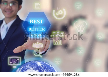 BEST SELLECTION concept presented by  businessman touching on  virtual  screen -image element furnished by NASA- SOFT SILVER TONE - stock photo