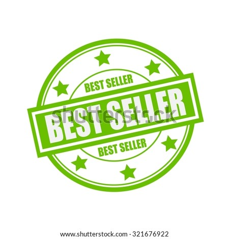 best seller white stamp text on circle on green background and star
