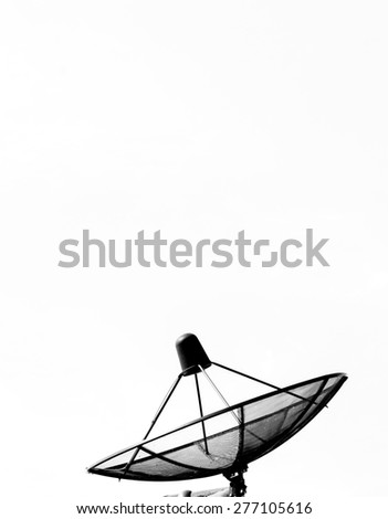 Best signal with satellite dish on the roof at home with white background - stock photo