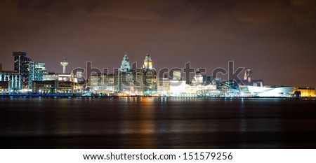 Best skyline in Britain reflecting on the river Mersey in Liverpool - stock photo