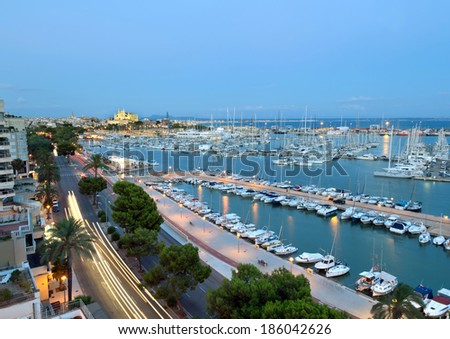 Best view of Palma de Mallorca with the Cathedral Santa Maria. - stock photo