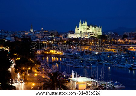 Best view of Palma de Mallorca with the Cathedral Santa Maria by night. - stock photo
