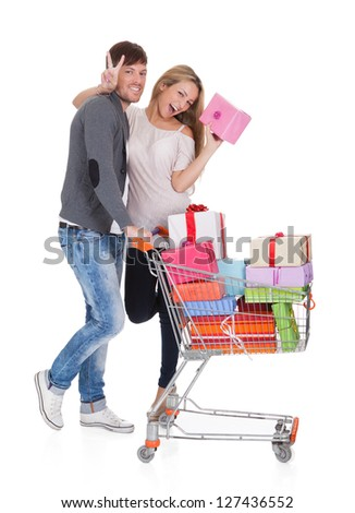 Bestfriends shop valuable gifts for christmas presents. Isolated on white - stock photo