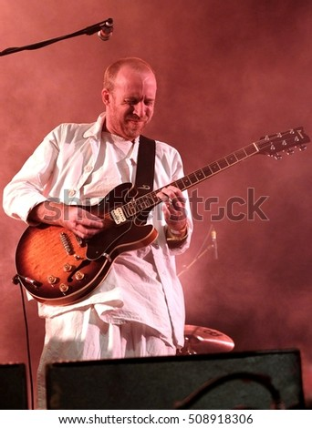 Bestival - September 8th 2016: Al Doyle guitarist with Hot Chip  performing live on the main stage at Bestival, Newport, Isle of Wight, September 8, 2016 on Isle of Wight, UK