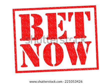 BET NOW red Rubber Stamp over a white background. - stock photo
