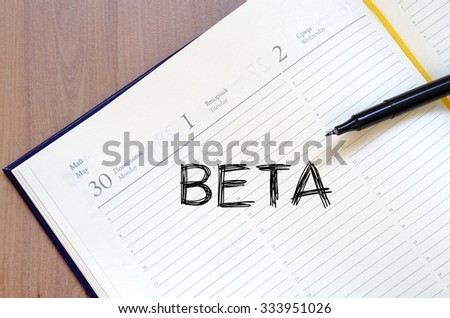 Beta text concept write on notebook
