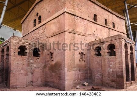 Bete Amanuel, monolitic church, Lalibela, Ethiopia, Africa - stock photo