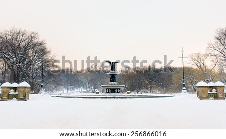 Bethesda Fountain and Terrace at night in the winter in Central Park, New York. - stock photo