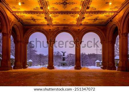 Bethesda Fountain in Central Park New York after snow storm Linus - stock photo