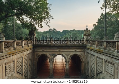 Bethesda Terrace in Central Park - stock photo