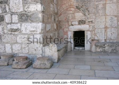 Bethlehem Basilica of the Nativity, Entrance - stock photo