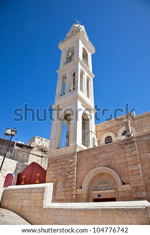 Bethlehem is the capital of the Governorate of the Palestinian National Authority.Israel - stock photo