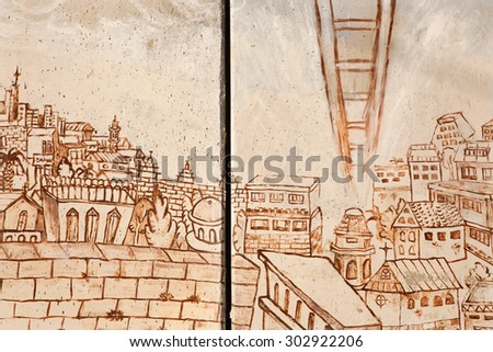 BETHLEHEM, ISRAEL - MARCH 6, 2015: The Detail of graffitti on the Separation barrier. The symbolic ladder of peace bound to the heaven from Jerusalem city.   - stock photo