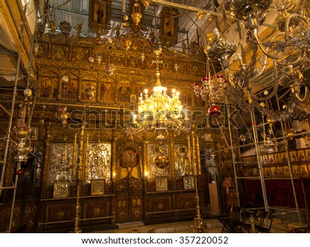 BETHLEHEM, PA, Israel, July 12, 2015: The richly decorated interior of the church in the area of Church of the Nativity. - stock photo