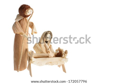 Bethlem � Maria, Joseph And Baby Jesus, Figures Made Of Dry Corn Leaves - stock photo