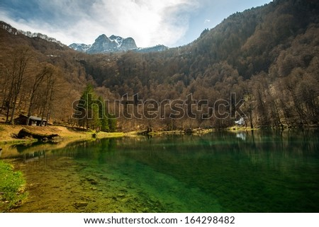 Bethmale lake view, France  - stock photo